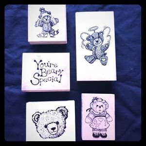 🐻 Wooden block Rubber stamps, Bears